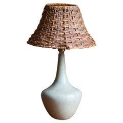 Gunnar Nylund, Table Lamp, Glazed Stoneware, Rattan Rörstand, Sweden, 1950s