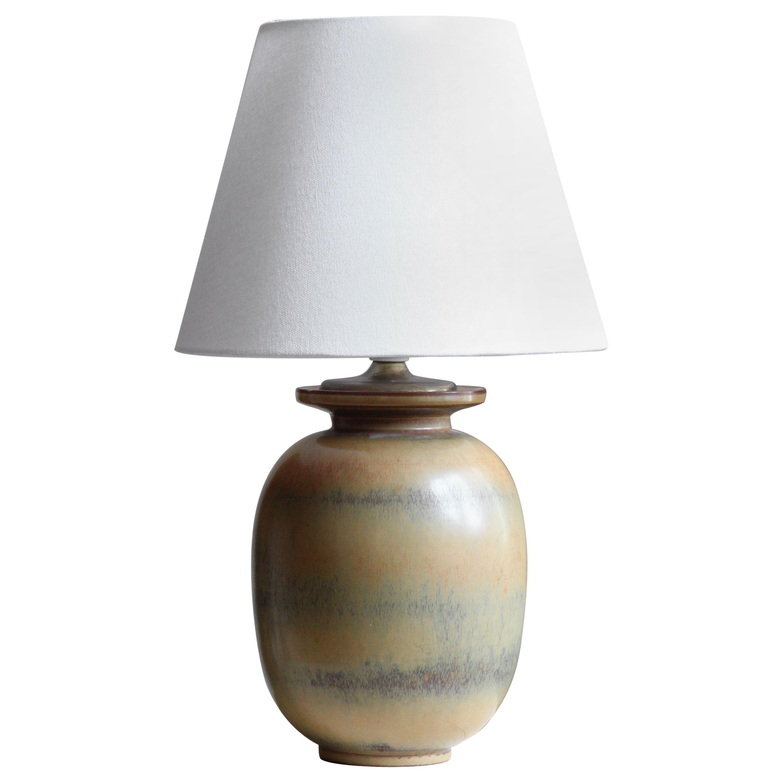 Gunnar Nylund, Table Lamp, Glazed Stoneware, Rörstand, Sweden, 1940s