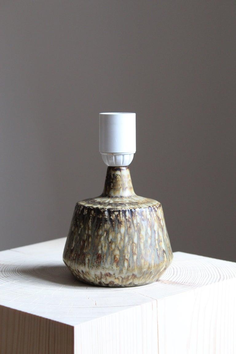Mid-Century Modern Gunnar Nylund, Table Lamp, Glazed Stoneware, Rörstand, Sweden, 1950s For Sale