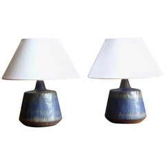 Gunnar Nylund, Table Lamps, Blue-Glazed Stoneware, Rörstand, Sweden, 1950s