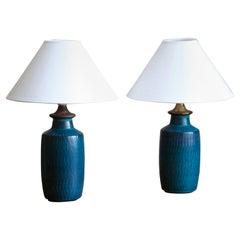 Gunnar Nylund, Table Lamps, Glazed Stoneware, Nymølle, Denmark, 1960s