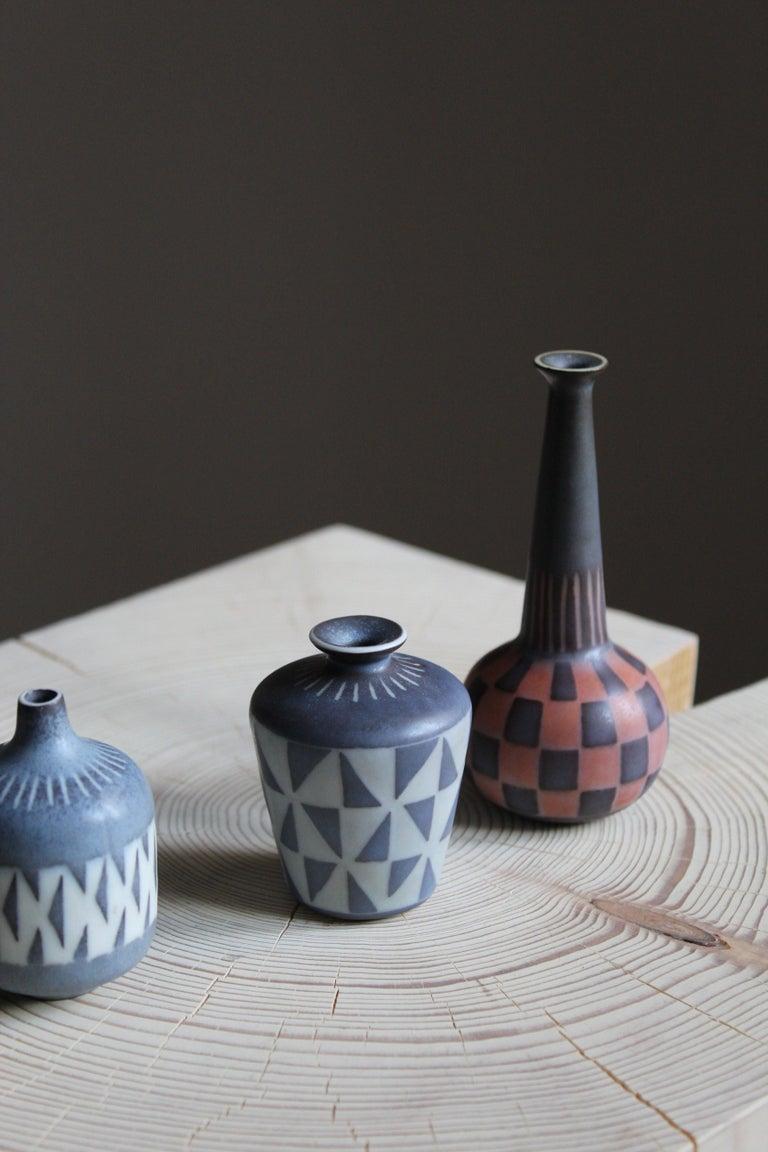 Mid-Century Modern Gunnar Nylund, Unique Hand Painted Vases, Stoneware, Rörstand, Sweden, 1950s For Sale