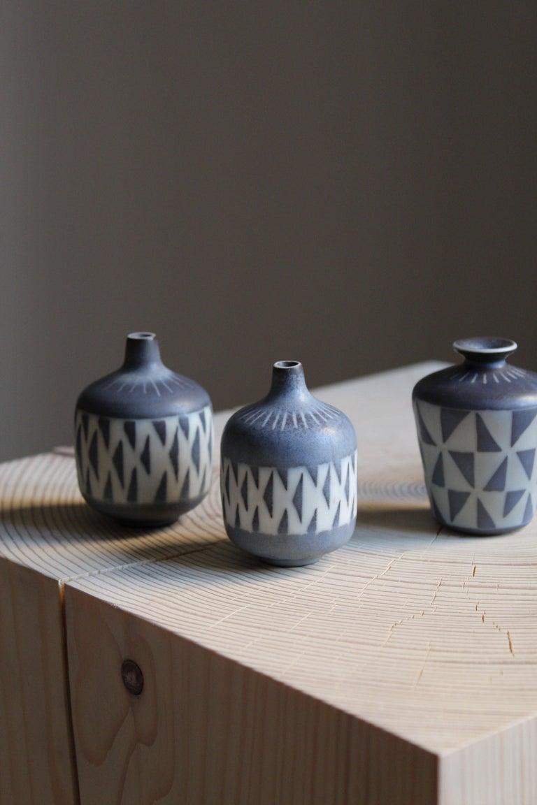 European Gunnar Nylund, Unique Hand Painted Vases, Stoneware, Rörstand, Sweden, 1950s For Sale