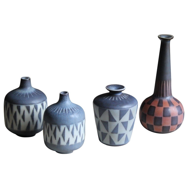 Gunnar Nylund, Unique Hand Painted Vases, Stoneware, Rörstand, Sweden, 1950s For Sale
