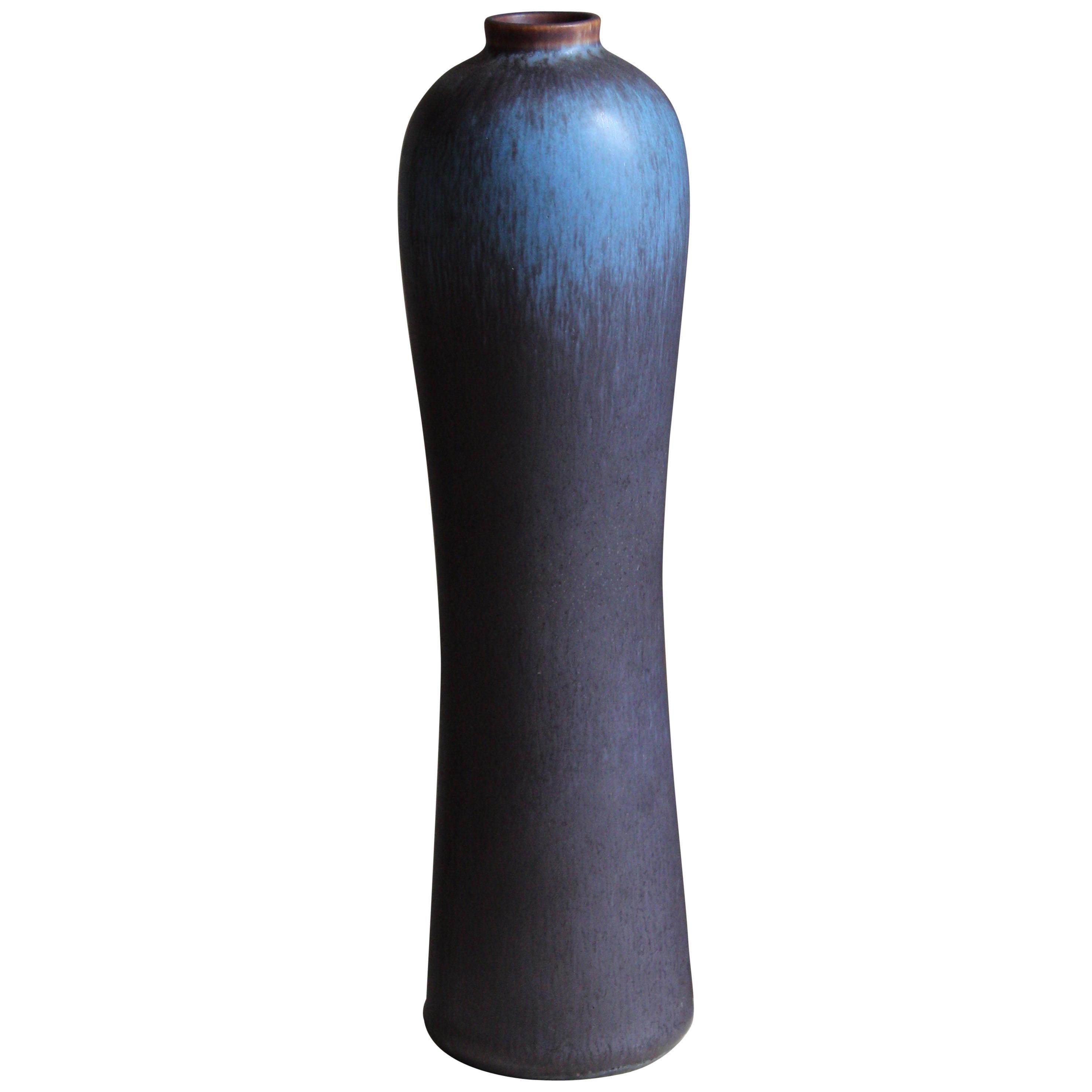 Gunnar Nylund, Vase or Vessel, Blue-Glazed Stoneware, Rörstand, Sweden, 1950s