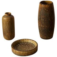 Gunnar Nylund, Vases and Dish, Glazed Stoneware, Rörstand, Sweden, 1950s