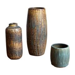 Gunnar Nylund, Vases, Glazed Stoneware, Rörstand, Sweden, 1950s