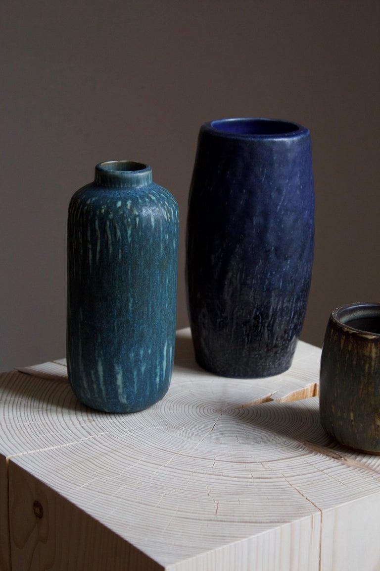 Mid-Century Modern Gunnar Nylund, Vases or Vessels, Glazed Stoneware, Rörstand, Sweden, 1950s For Sale