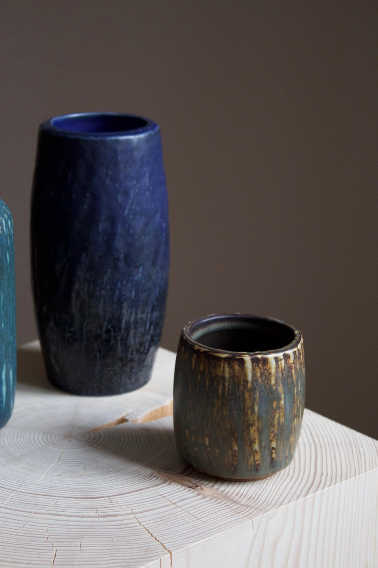 Swedish Gunnar Nylund, Vases or Vessels, Glazed Stoneware, Rörstand, Sweden, 1950s For Sale