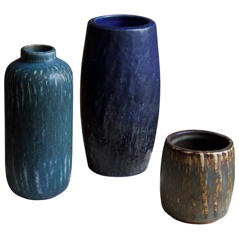 Gunnar Nylund, Vases or Vessels, Glazed Stoneware, Rörstand, Sweden, 1950s For Sale