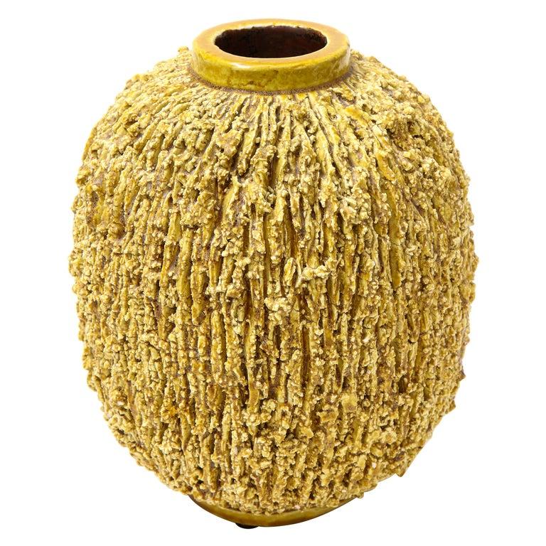 "Gunnar Nylund Yellow ""Chamotte"" Vase, Sweden, circa 1960s For Sale"
