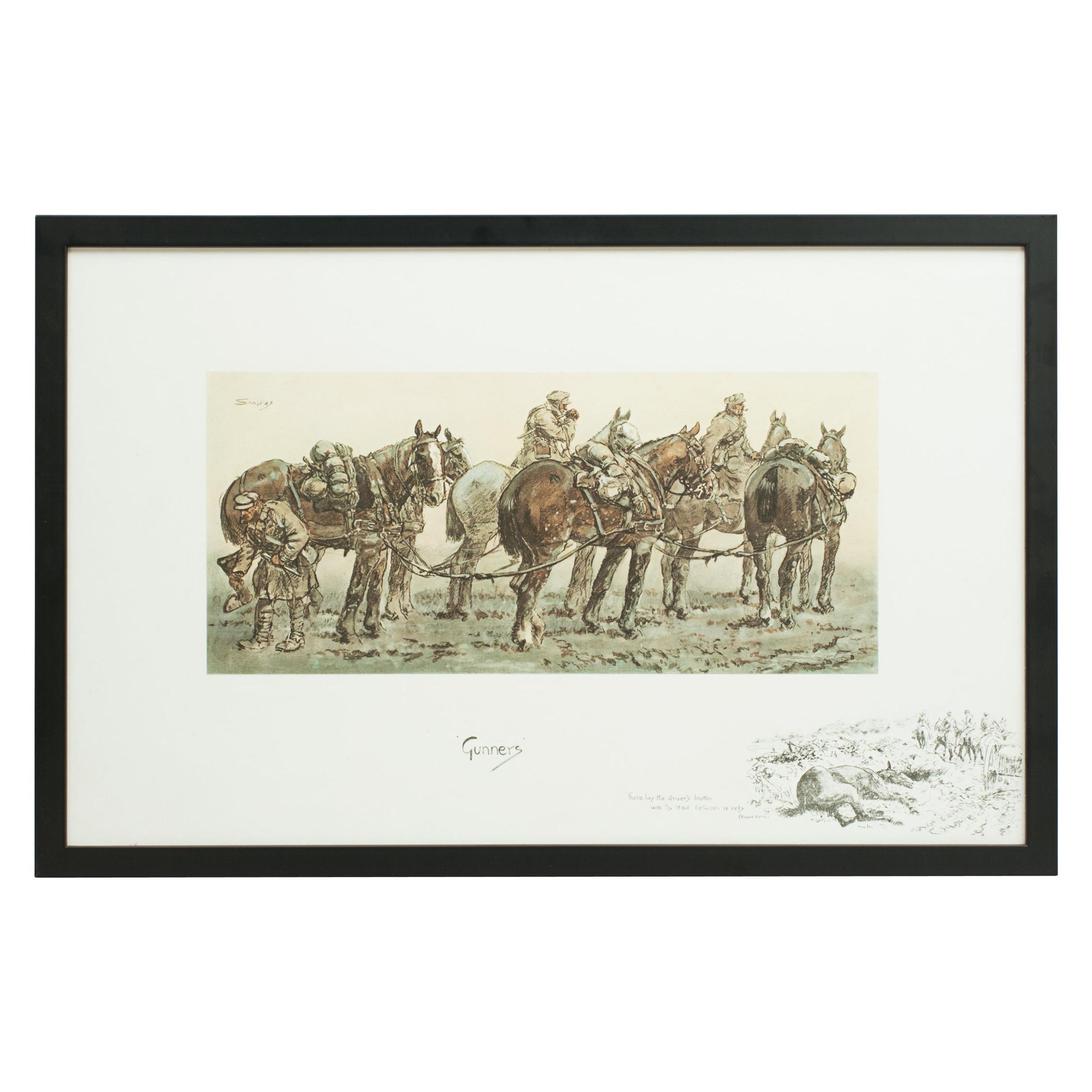 Gunners, Original Snaffles WWI Military Print, Charles Johnson Payne