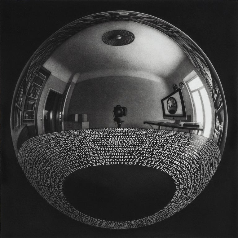 Signed and numbered from the edition of 20.  The illusions and reflections in Sietins prints often bring M.C. Escher to mind, but his prints have a distinctive feel all their own. The numbers reflect up into the ball, along with a surreal image of a