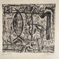 Austrian Junge Wilde Abstract Etching Hand Signed, New Expressionist