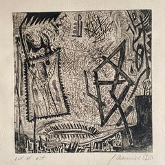 Austrian Junge Wilde Abstract Etching Print Hand Signed, Neo Expressionist Art