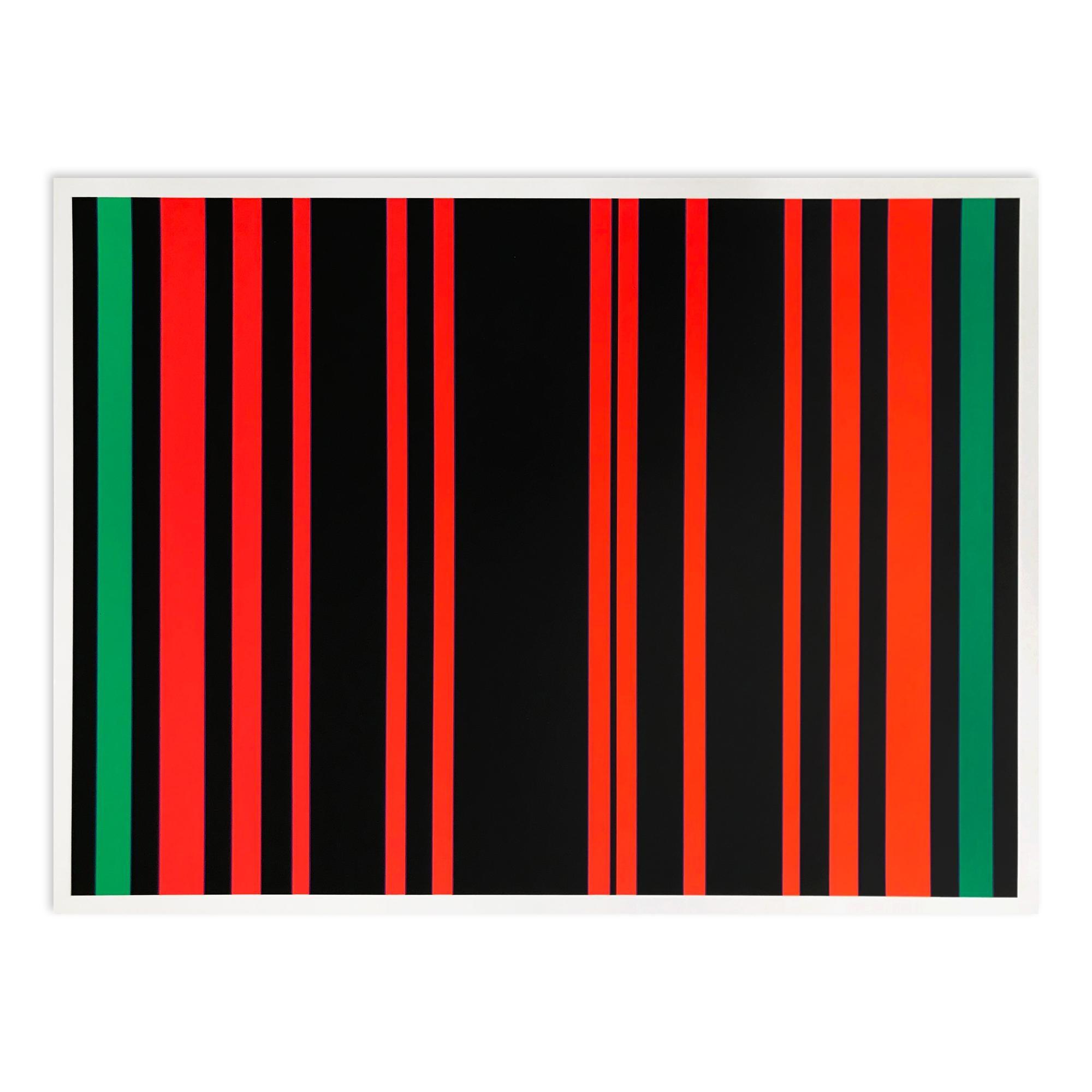 Between Green (Zwischen Grün), Screenprint, Geometric Abstract Art, 20th Century