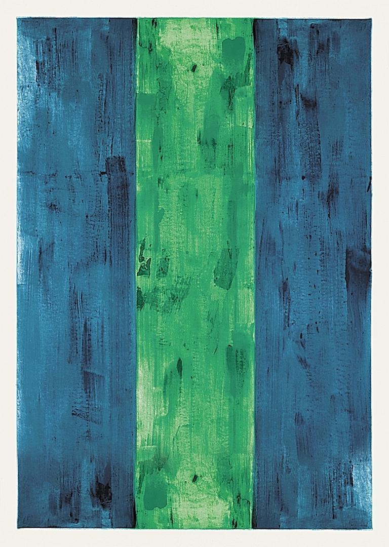 Günther Förg Abstract Print - Blau, grün, blau