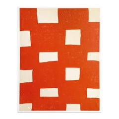Orange Woodcut Print, Abstract Art, Contemporary Art, Minimalism, 20th Century