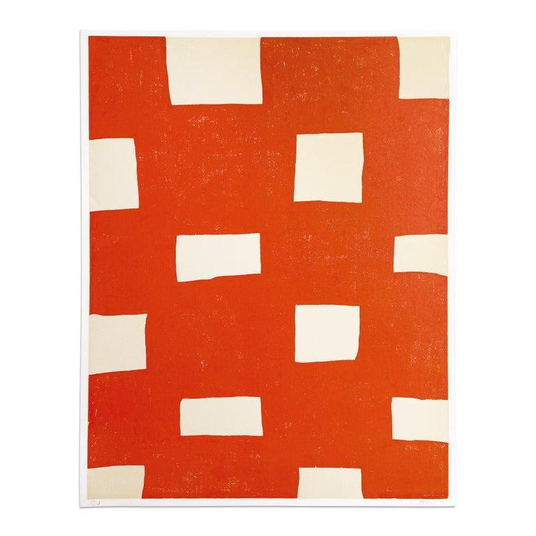 Günther Förg Abstract Print - Orange Woodcut Print, Abstract Art, Contemporary Art, Minimalism, 20th Century