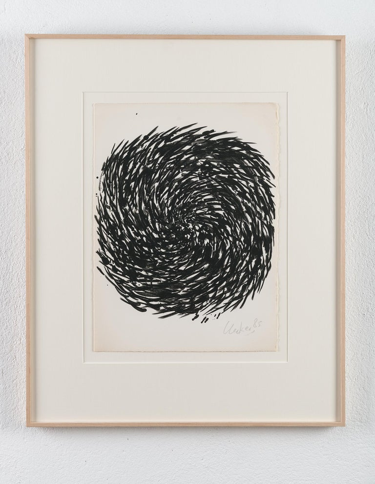 Günther Uecker (1930) A beautiful original hand signed and dated lithograph on wove paper, 1965.    Condition: Very good condition. Framed in extra thick matting and under gallery glass. The beautiful frame was hand silvered by an expert