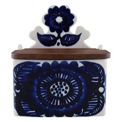 Gunvor Olin Gronqvist for Arabia, Porcelain Salt Box Decorated with Blue Flowers
