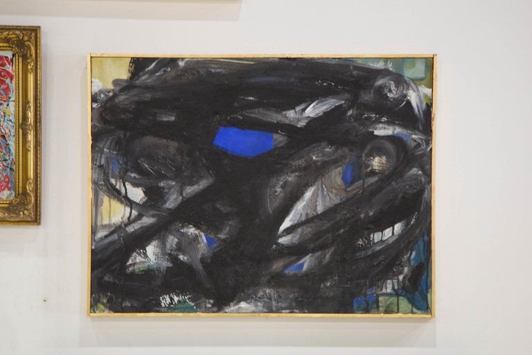 Gur Ny, Black and White Abstract Expressionist Painting, 1968 In Excellent Condition For Sale In Chicago, IL