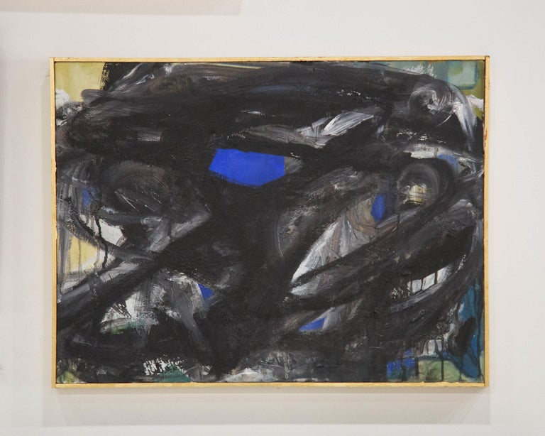 Mid-20th Century Gur Ny, Black and White Abstract Expressionist Painting, 1968 For Sale