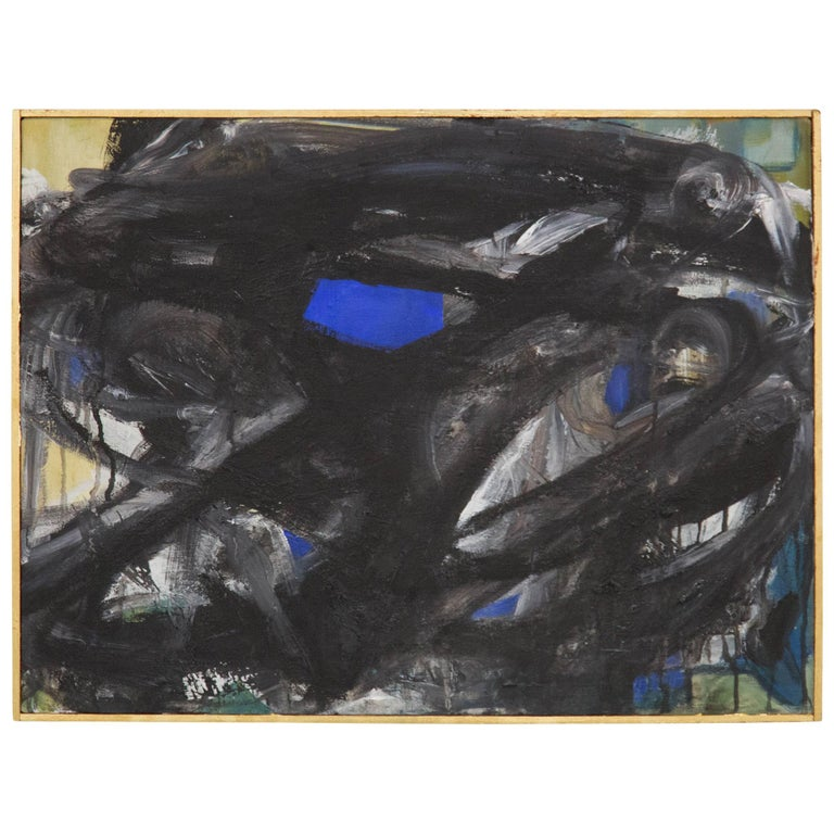 Gur Ny, Black and White Abstract Expressionist Painting, 1968 For Sale