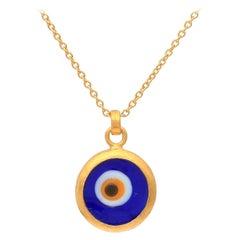 GURHAN 22-24 Karat Hammered Yellow Gold Evil Eye Pendant Necklace