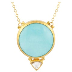 Gurhan 22-24 Karat Hammered Yellow Gold Turquoise and Diamond Pendant Necklace