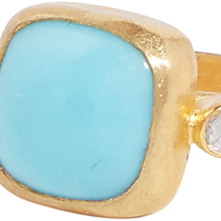 Contemporary Gurhan 22-24 Karat Hammered Yellow Gold Turquoise and Diamond Ring For Sale