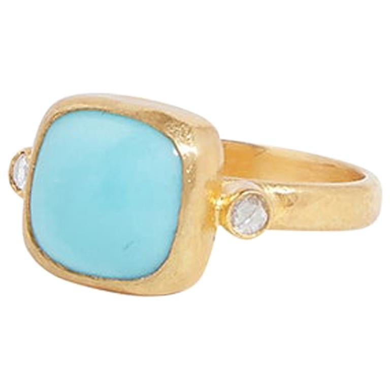 Gurhan 22-24 Karat Hammered Yellow Gold Turquoise and Diamond Ring For Sale