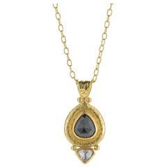Gurhan 24 Karat Chain with Black Diamond and Diamond Teardrop Necklace