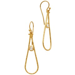 Gurhan 24 Karat Gold Diamond Teardrop Earrings