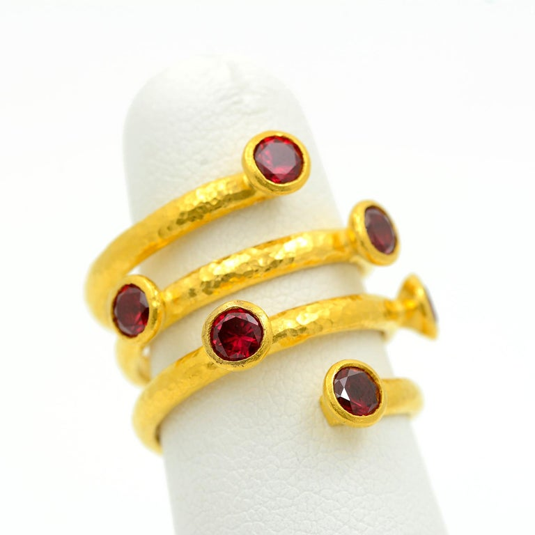 Round Cut Gurhan 24 Karat Gold Red Topaz Coil Ring For Sale