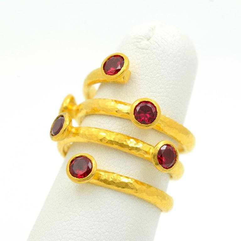 Gurhan 24 Karat Gold Red Topaz Coil Ring In Excellent Condition For Sale In Dallas, TX