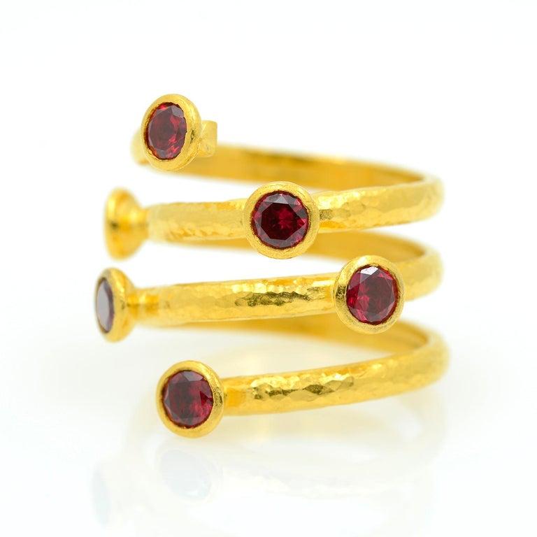 Women's or Men's Gurhan 24 Karat Gold Red Topaz Coil Ring For Sale