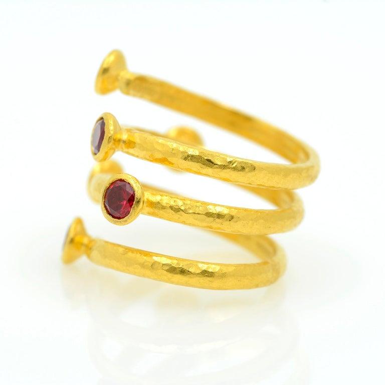 Gurhan 24 Karat Gold Red Topaz Coil Ring For Sale 1