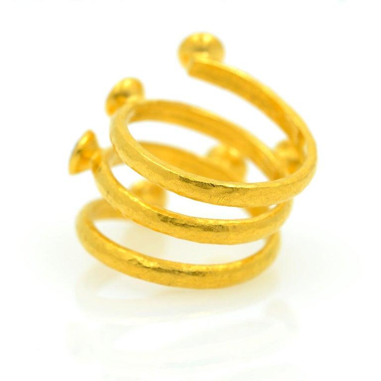 Gurhan 24 Karat Gold Red Topaz Coil Ring For Sale 2