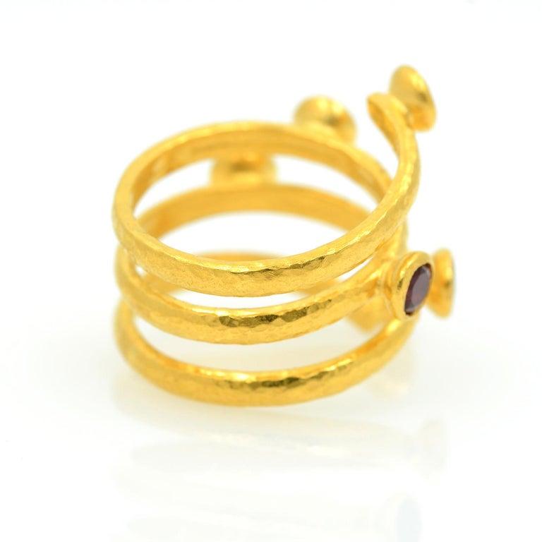 Gurhan 24 Karat Gold Red Topaz Coil Ring For Sale 3