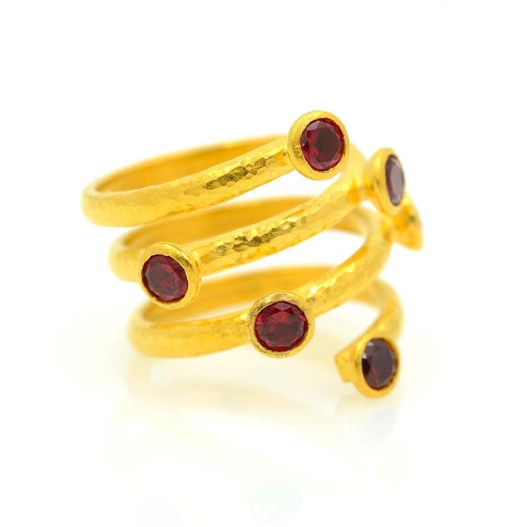 Gurhan 24 Karat Gold Red Topaz Coil Ring For Sale 4