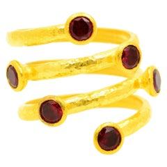 Gurhan 24 Karat Gold Red Topaz Coil Ring