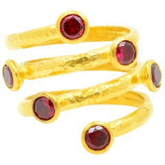 Gurhan 24 Karat Gold Red Topaz Coil Ring