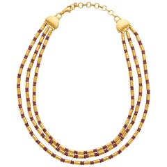 Gurhan 24 Karat Gold Ruby 3-Strand Necklace