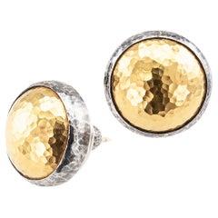 Gurhan 24 Karat Gold Sterling Silver Round Stud Earrings