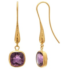 Gurhan 24 Karat Hammered Yellow Gold Amethyst Dangle Drop Earrings