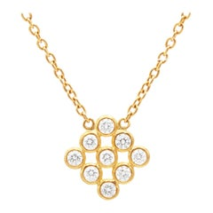 Gurhan 24 Karat Hammered Yellow Gold and White Diamond Cluster Pendant Necklace