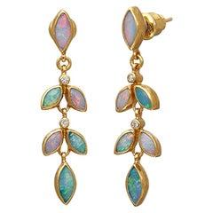 Gurhan 24 Karat Hammered Yellow Gold Australian Opal and Diamond Earring