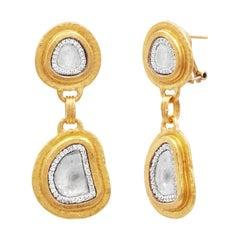 Gurhan 24 Karat Hammered Yellow Gold Double Drop Diamond Slice Clip Post Earring