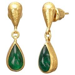 Gurhan 24 Karat Hammered Yellow Gold Emerald Drop Earrings